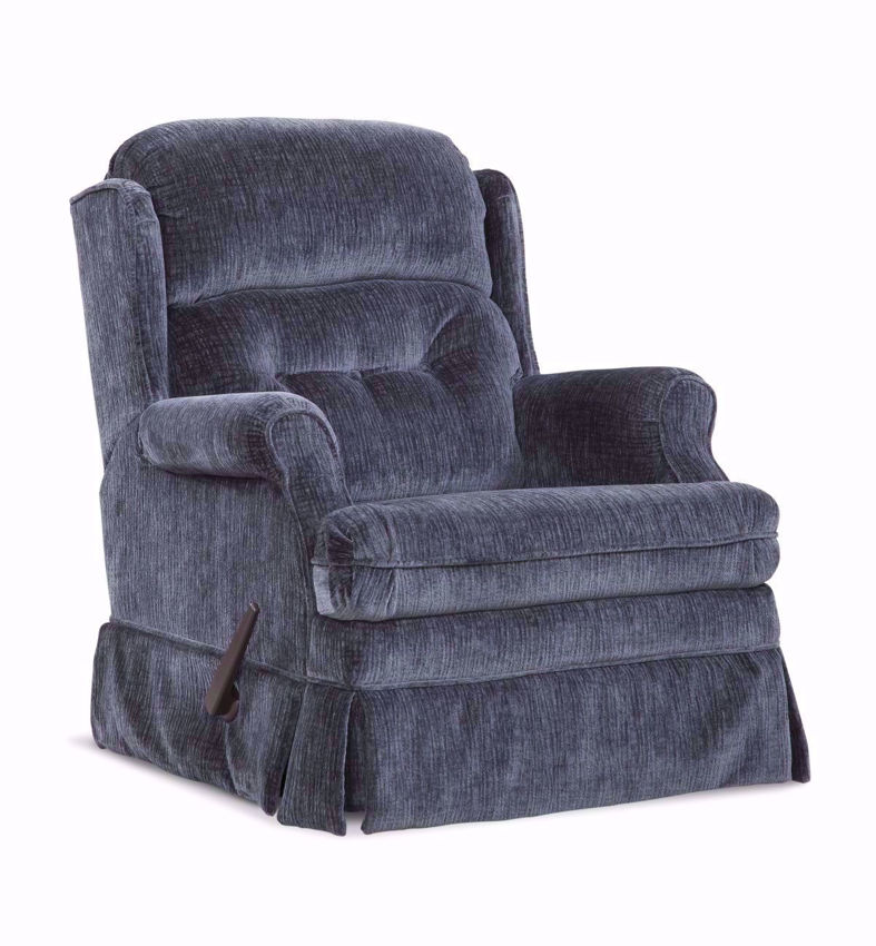 Blue Skirted Carolina Swivel Glider Recliner at an Angle | Home Furniture Plus Mattress
