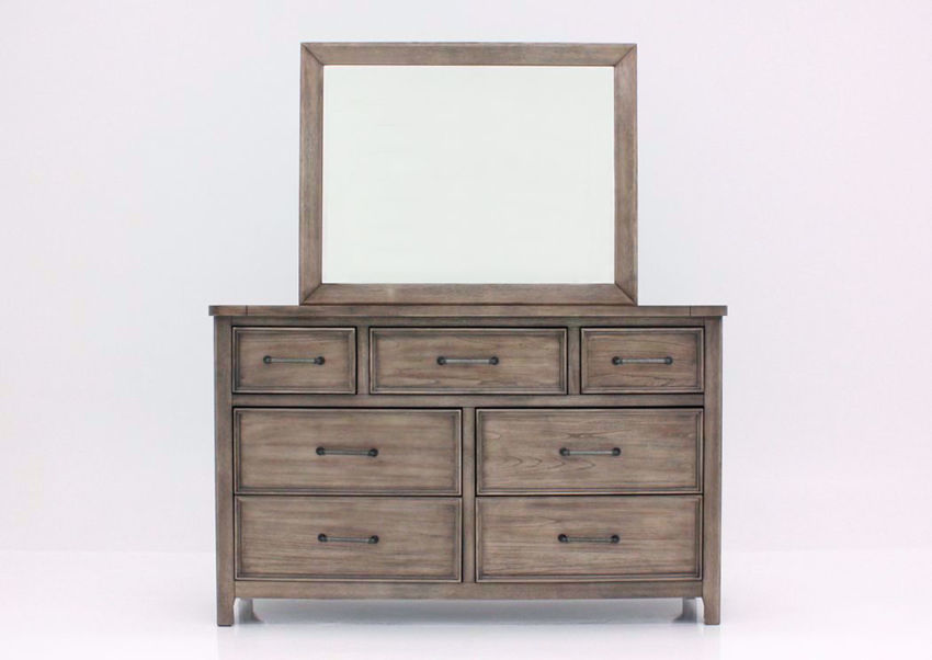 Harper Falls Dresser with Mirror, Weathered Gray, Front Facing | Home Furniture Plus Bedding