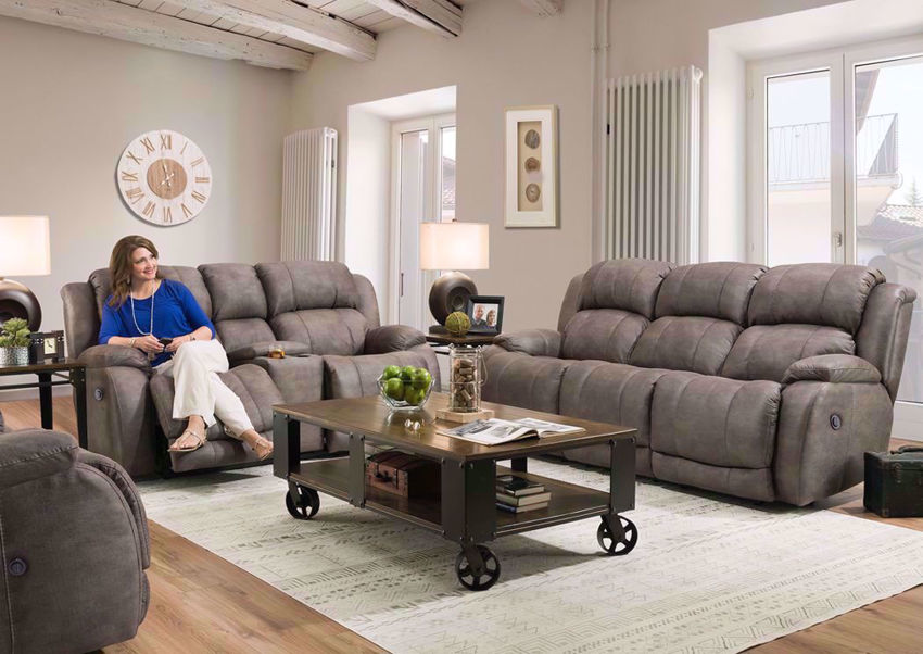 Denali Power Reclining Sofa Set by HomeStretch covered in a Steel Gray Microfiber Upholstery. Includes Reclining Sofa, Reclining Loveseat and Recliner | Home Furniture Plus Bedding
