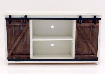 Antique White and Barnwood Brown Braxton TV Stand Facing Front | Home Furniture Plus Bedding