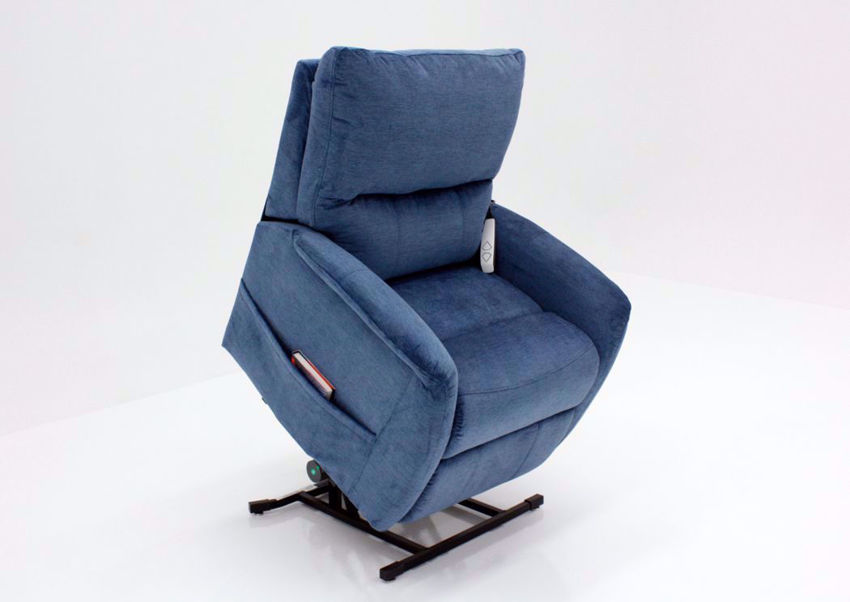 Polo Power Recliner Lift Chair, Blue, Angle, Up | Home Furniture Plus Bedding