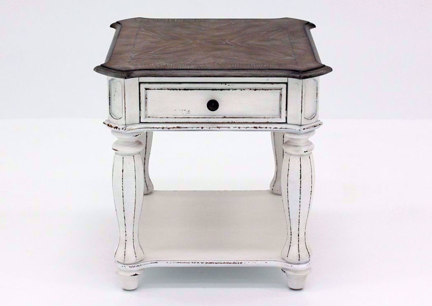 Distressed White Magnolia Manor End Table, Front Facing | Home Furniture Plus Mattress