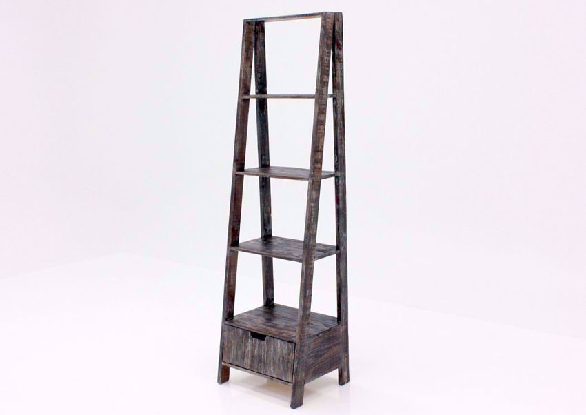 Rustic Barnwood Brown Ladder Bookcase at an Angle | Home Furniture Plus Bedding
