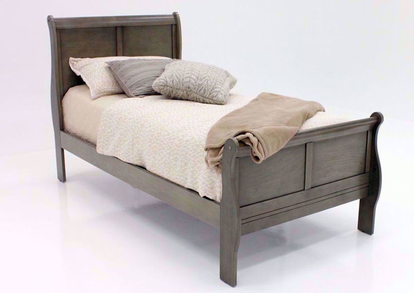 Gray Louis Philippe Twin Size Bed at an Angle | Home Furniture Plus Bedding