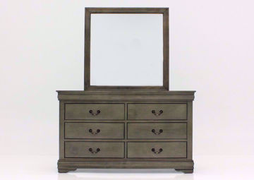 Louis Philippe Dresser with Mirror, Gray, Front Facing | Home Furniture Plus Bedding