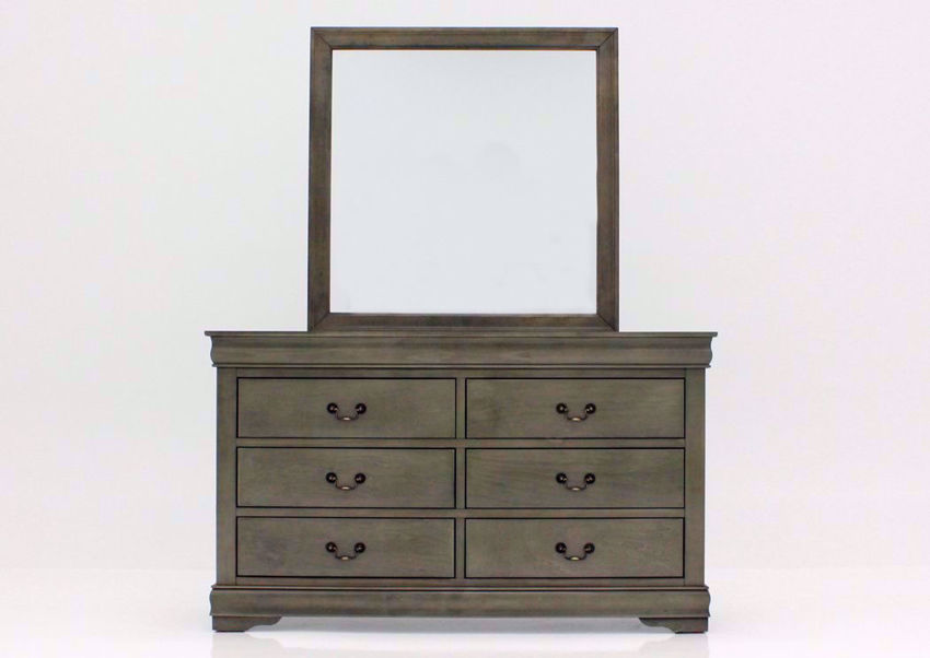 Gray Louis Philippe Dresser with Mirror Facing Front | Home Furniture Plus Bedding