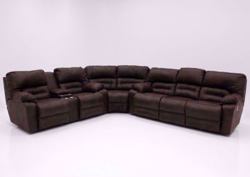 Brown Legacy POWER Reclining Sectional, Front Facing | Home Furniture Plus Mattress