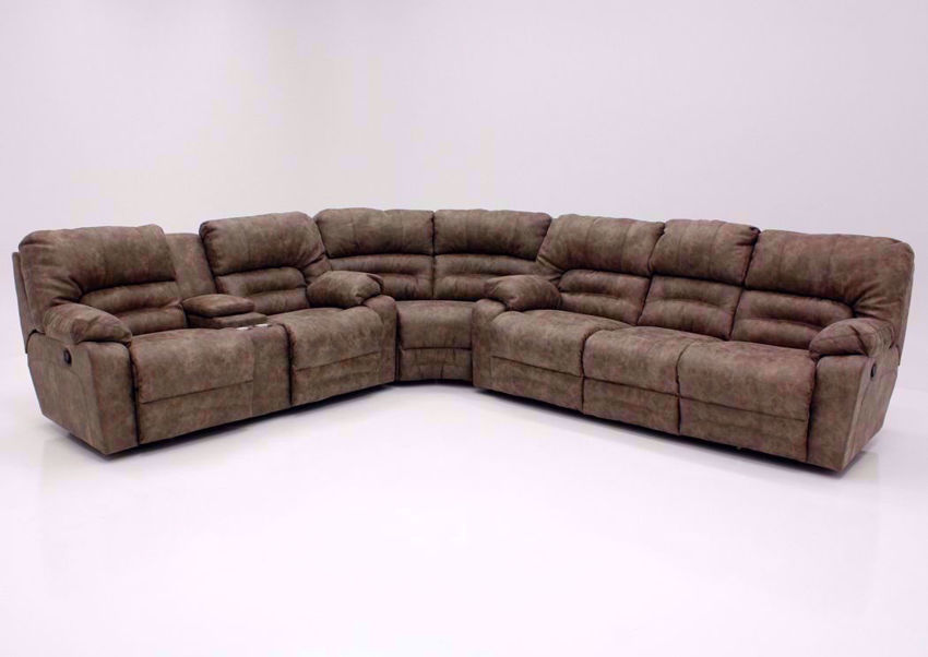 Tan Legacy Reclining Sectional Sofa, Front Facing | Home Furniture Plus Bedding