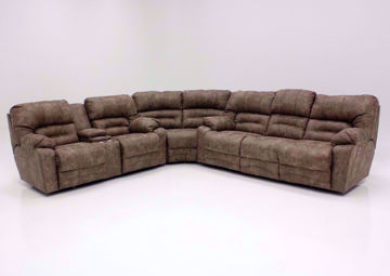 Legacy POWER Reclining Sectional, Tan, Front Facing | Home Furniture Plus Mattress