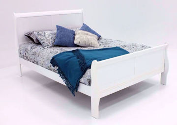 Bright White Louis Philippe King Size Bed at an Angle | Home Furniture Plus Bedding