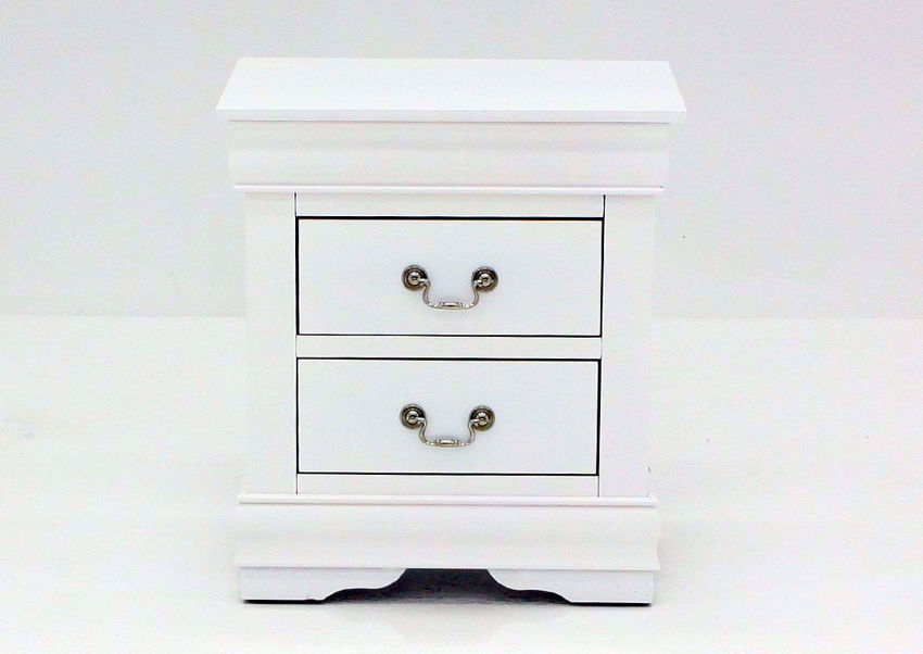Crisp White Louis Philippe Nightstand Facing Front | Home Furniture Plus Mattress