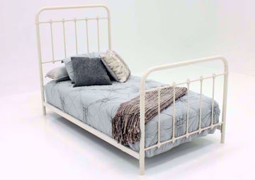 White Iron Style Jourdan Creek Twin Bed at an Angle | Home Furniture Plus Bedding