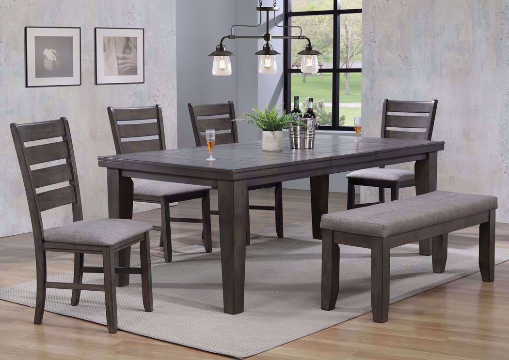 Picture of: Bardstown 6 Piece Dining Table Set Gray Home Furniture Plus Bedding