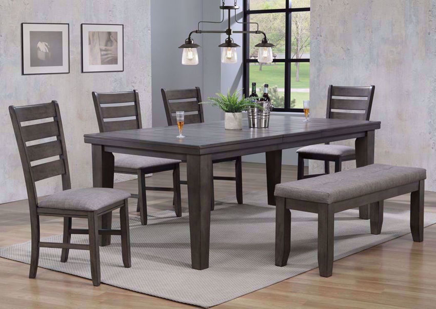 Bardstown 6 Piece Dining Table Set Gray Home Furniture Plus Bedding