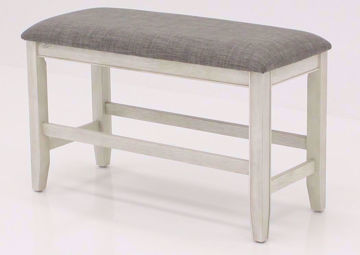White Fulton Bar Height Bench at an Angle | Home Furniture Plus Bedding