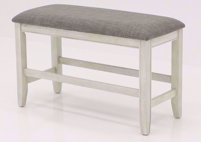 Rustic White Fulton Bar Height Bench at an Angle | Home Furniture Plus Mattress