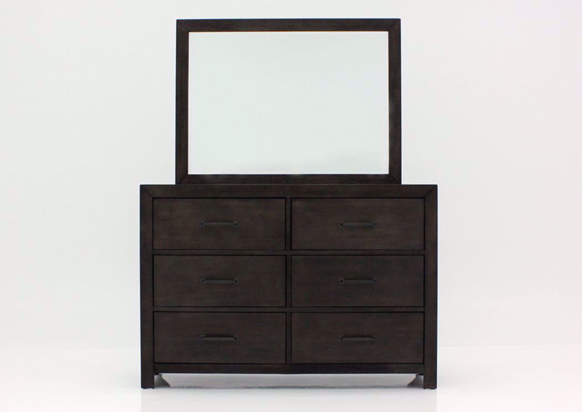Dark Brown Shelby Dresser with Mirror Facing Front | Home Furniture Plus Bedding