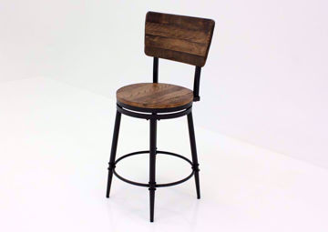 Warm Rich Brown Jennings 24 Inch Swivel Barstool at an Angle | Home Furniture Plus Mattress