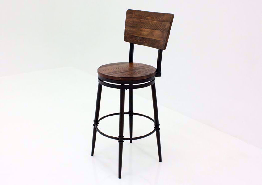 Warm Rich Brown Jennings 30 Inch Swivel Barstool at an Angle | Home Furniture Plus Mattress