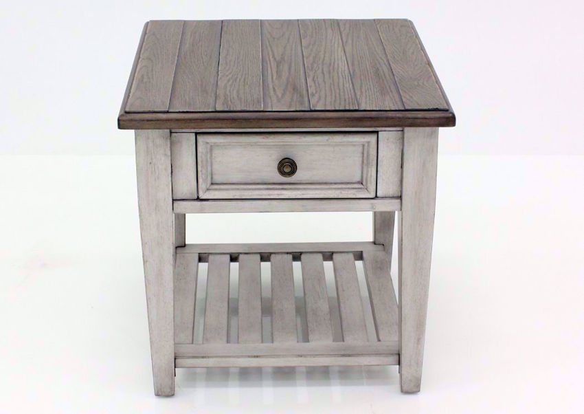 White and Brown Heartland Drawer End Table Facing Front | Home Furniture Plus Bedding