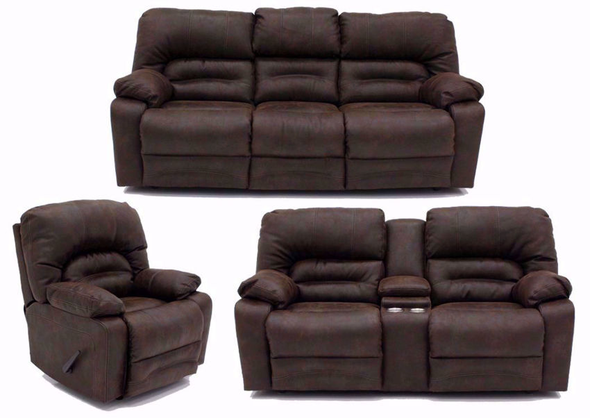 Sofa, Loveseat and Recliner Included in the Legacy Reclining Sofa Set with Brown Upholstery | Home Furniture Plus Bedding