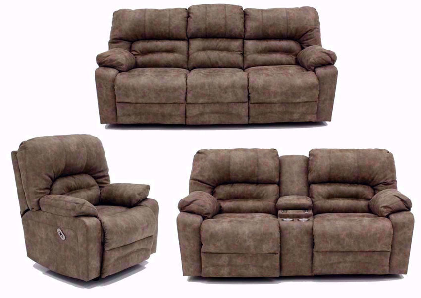 Light Brown Legacy POWER Reclining Sofa Set - Includes Sofa, Loveseat and Recliner | Home Furniture Plus Bedding