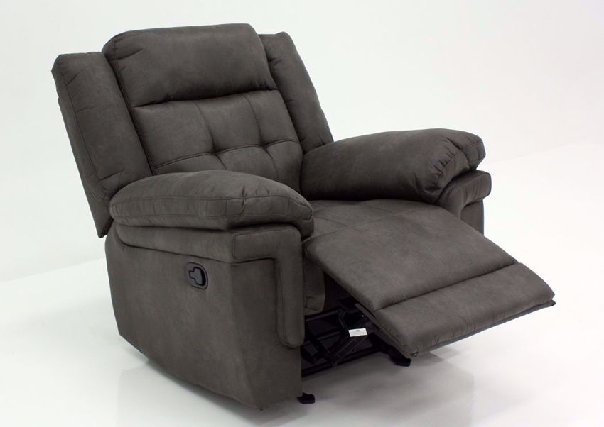 Gray Anastasia Glider Recliner at an Angle with the Chaise Open | Home Furniture Plus Bedding