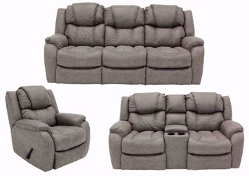 Soft Brown Daytona Reclining Sofa Set Group Including Sofa, Loveseat and Recliner | Home Furniture Plus Bedding