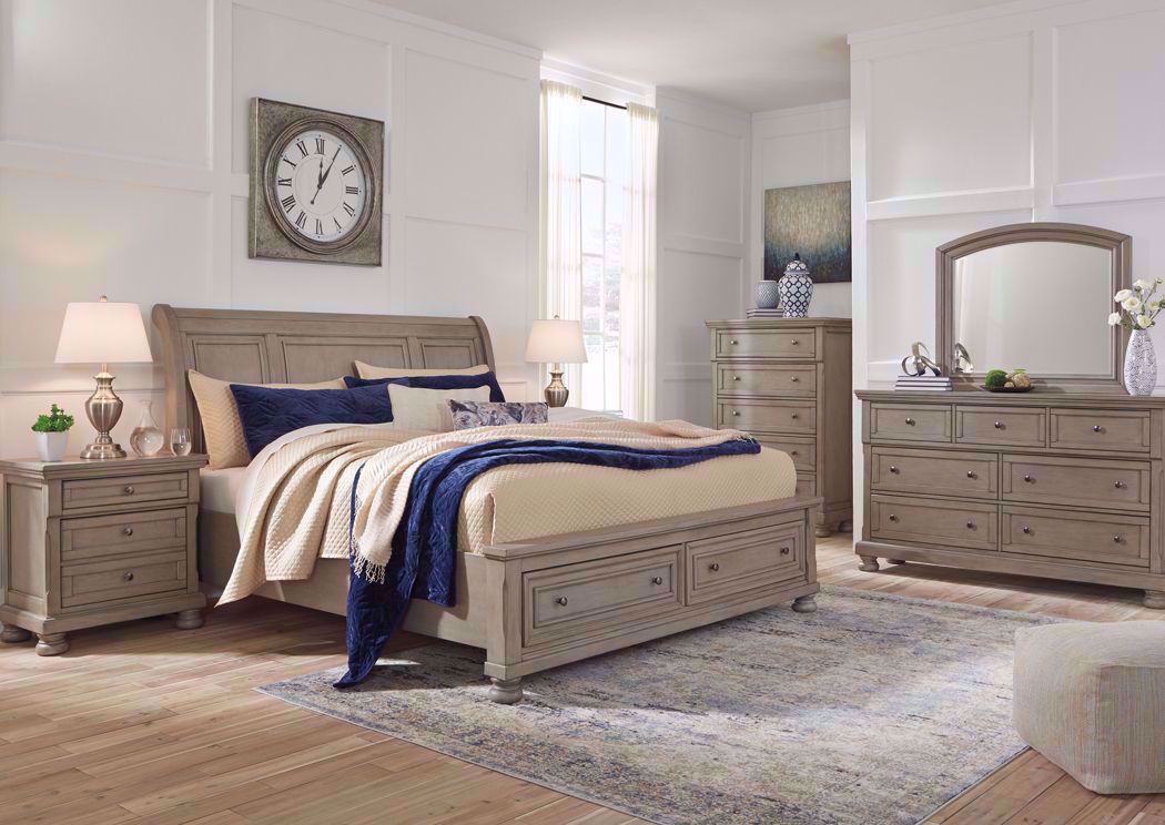 Lettner Queen Size Bedroom Set Light Gray Home Furniture Plus Bedding