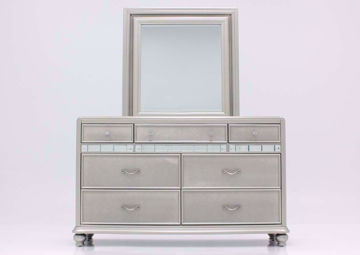 Silver Metallic Regency Dresser with Mirror Facing Front | Home Furniture Plus Bedding