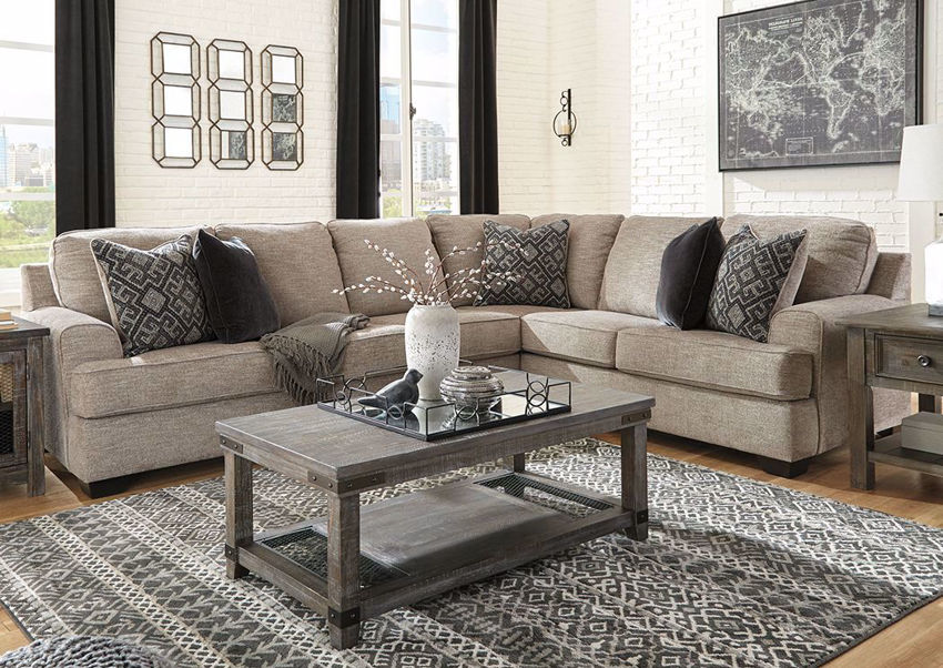 Brown Bovarian Sectional Sofa - Left Facing by Ashley Furniture in Room Setting | Home Furniture Plus Bedding