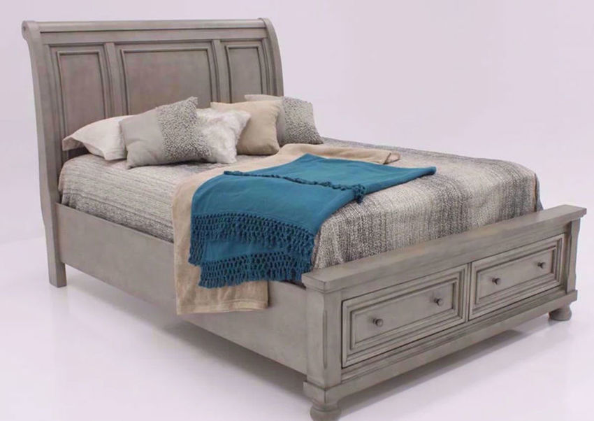 Light Gray Lettner King Size Sleigh Bed by Ashley Furniture at an Angle | Home Furniture Plus Bedding