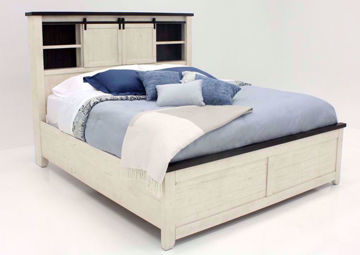 Distressed White Madison County Queen Bed at an Angle | Home Furniture Plus Bedding
