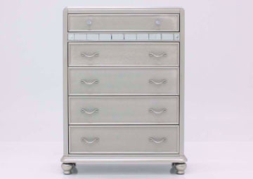 Silver Metallic Regency Chest of Drawers Facing Front | Home Furniture Plus Bedding
