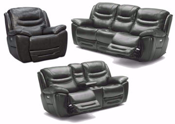 Dallas Power Activated Reclining Sofa Set by K-Motion with Gray Top Grain Leather Upholstery. Includes Reclining Sofa, Reclining Loveseat and Recliner | Home Furniture + Mattress