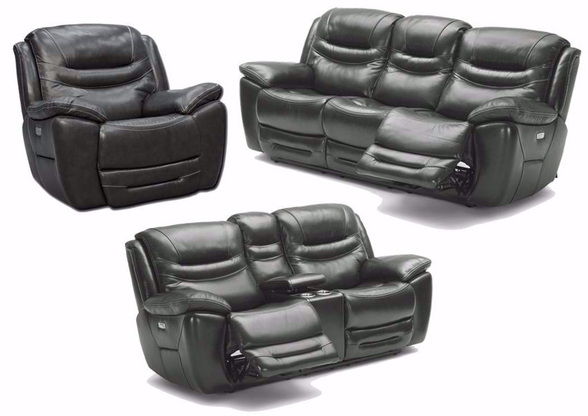 Dallas Power Activated Reclining Sofa Set by K-Motion with Gray Top Grain Leather Upholstery. Includes Reclining Sofa, Reclining Loveseat and Recliner | Home Furniture Plus Bedding