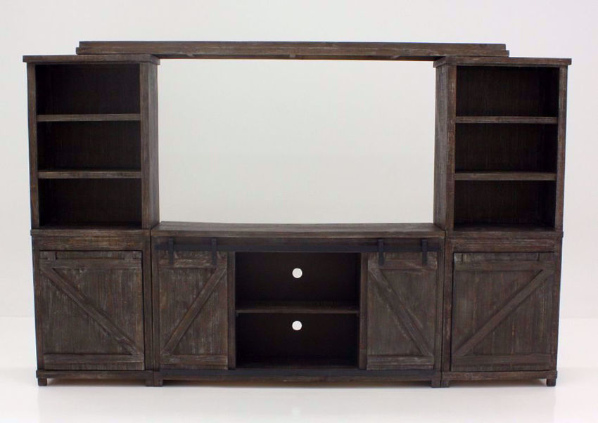 Barnwood Brown Braxton Entertainment Center Facing Front | Home Furniture Plus Bedding