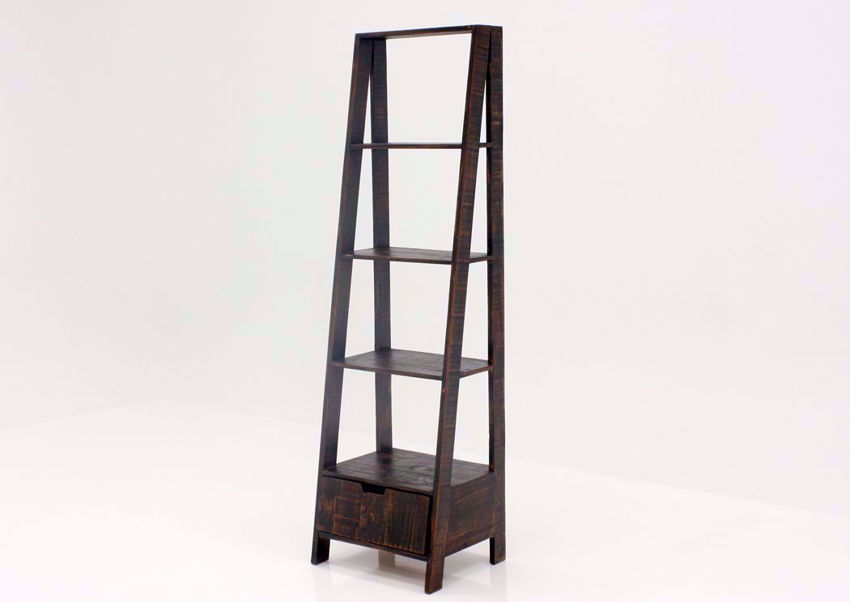 Rustic Dark Brown Ladder Bookcase at an Angle | Home Furniture Plus Mattress