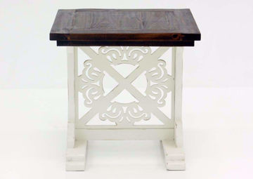 Mandalay End Table, Two-Tone, White and Brown, Front Facing  | Home Furniture Plus Mattress