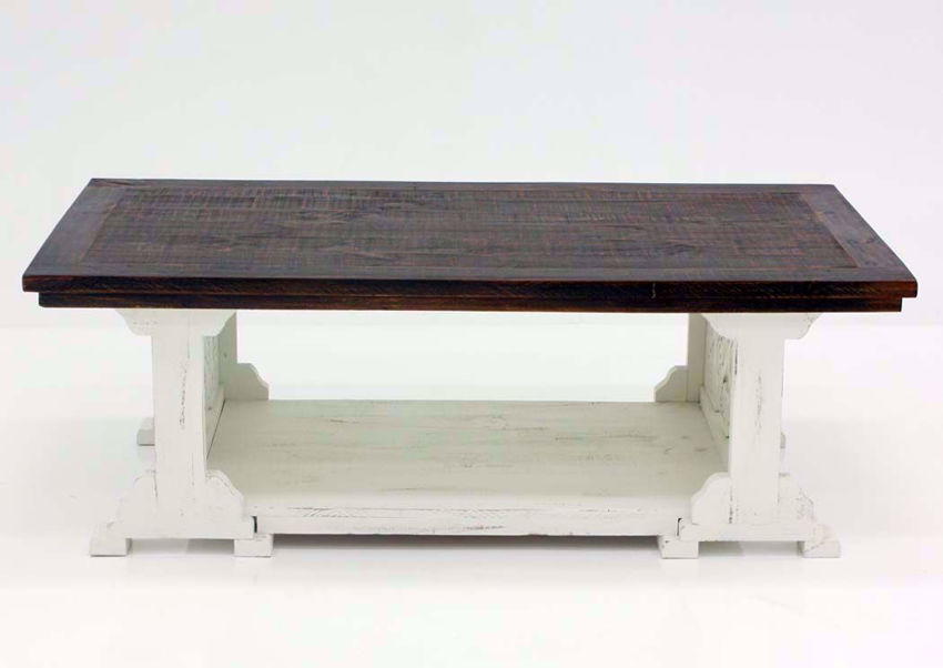 Two-Tone White and Brown Mandalay Coffee Table Front Facing | Home Furniture Plus Bedding
