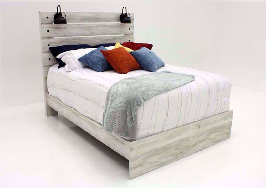 Whitewash White Cambeck King Size Bed by Ashley Furniture at an Angle | Home Furniture Plus Mattress