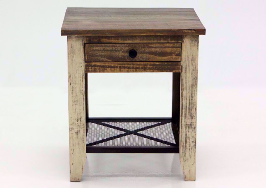 Rustic Multi-Colored Amarillo End Table, Front Facing | Home Furniture Plus Mattress