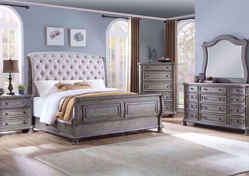 Room with the Gray Pecan Lake Way Bedroom Set includes Upholstered Queen Size Bed, Dresser with Mirror and Nightstand (Chest of Drawers Sold Separately) | Home Furniture Plus Mattress Store