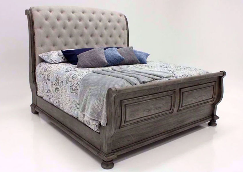 Gray Pecan Lake Way Upholstered Queen Size Bed at an Angle | Home Furniture Plus Mattress