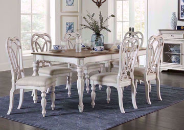 White Giovanni Dining Table Set by Standard in a Room Setting. Includes a Table and Six Chairs | Home Furniture Plus Mattress