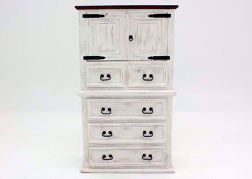 Rustic White Mansion Door Chest of Drawers Facing Front | Home Furniture Plus Mattress