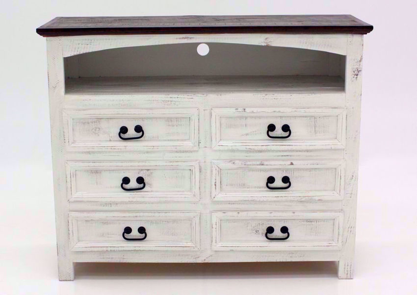 Rustic White Mansion TV or Media Chest of Drawers Facing Front | Home Furniture Plus Mattress