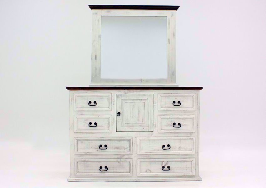 Rustic White Mansion Dresser with Mirror Facing Front | Home Furniture Plus Mattress