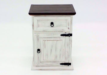 White Distressed Mansion Nightstand Facing Front | Home Furniture Plus Mattress