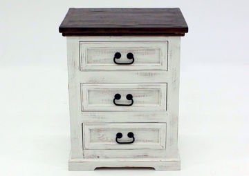 Distressed White Mansion 3 Drawer Nightstand Facing Front | Home Furniture Plus Mattress
